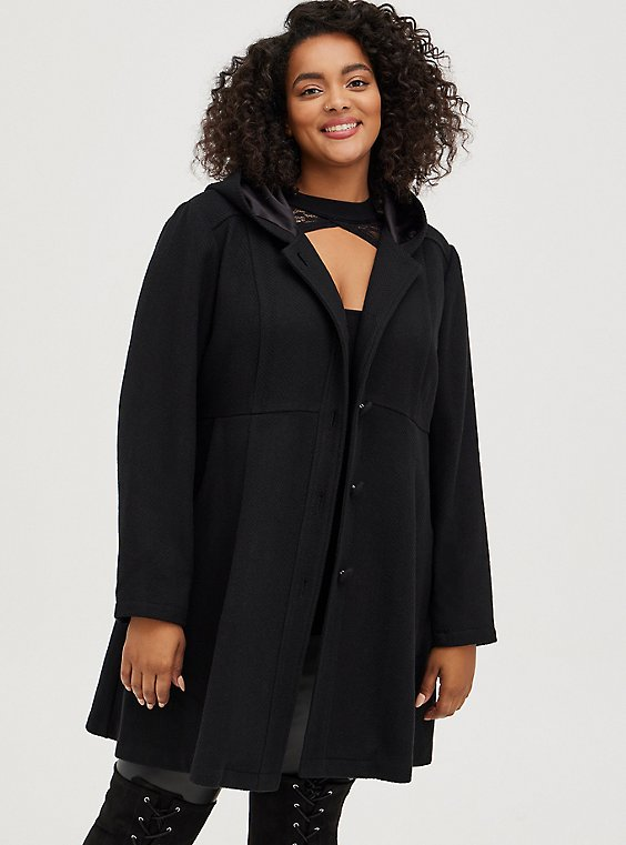 Black Woolen Hooded Fit & Flare Coat , DEEP BLACK, hi-res
