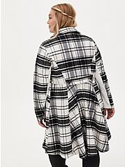 Black & White Plaid Woolen Coat, PLAID - BLACK, alternate