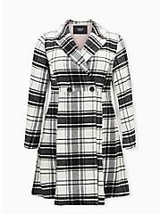 Black & White Plaid Woolen Coat, PLAID - BLACK, hi-res