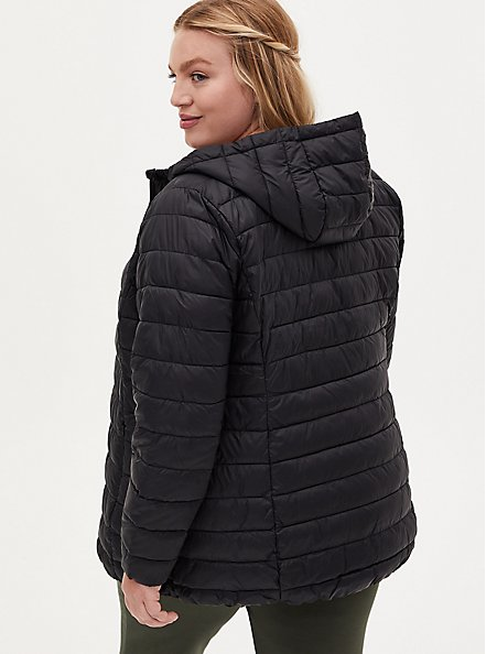 Black Nylon Lightweight Puffer Jacket, DEEP BLACK, alternate