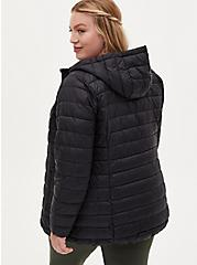Plus Size Black Nylon Lightweight Puffer Jacket, DEEP BLACK, alternate