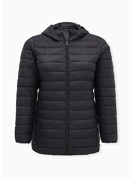 Black Nylon Lightweight Puffer Jacket, DEEP BLACK, hi-res