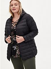 Plus Size Black Nylon Lightweight Puffer Jacket, DEEP BLACK, hi-res