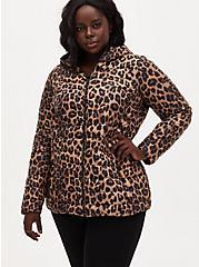 Leopard Nylon Lightweight Puffer Jacket, LEOPARD, hi-res