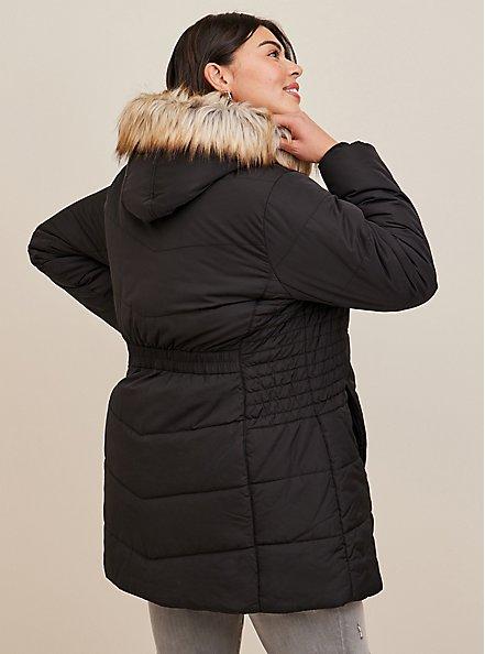 Black Faux Fur Trim Fit & Flare Puffer Coat, DEEP BLACK, alternate