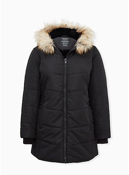 Black Faux Fur Trim Fit & Flare Puffer Coat, DEEP BLACK, hi-res