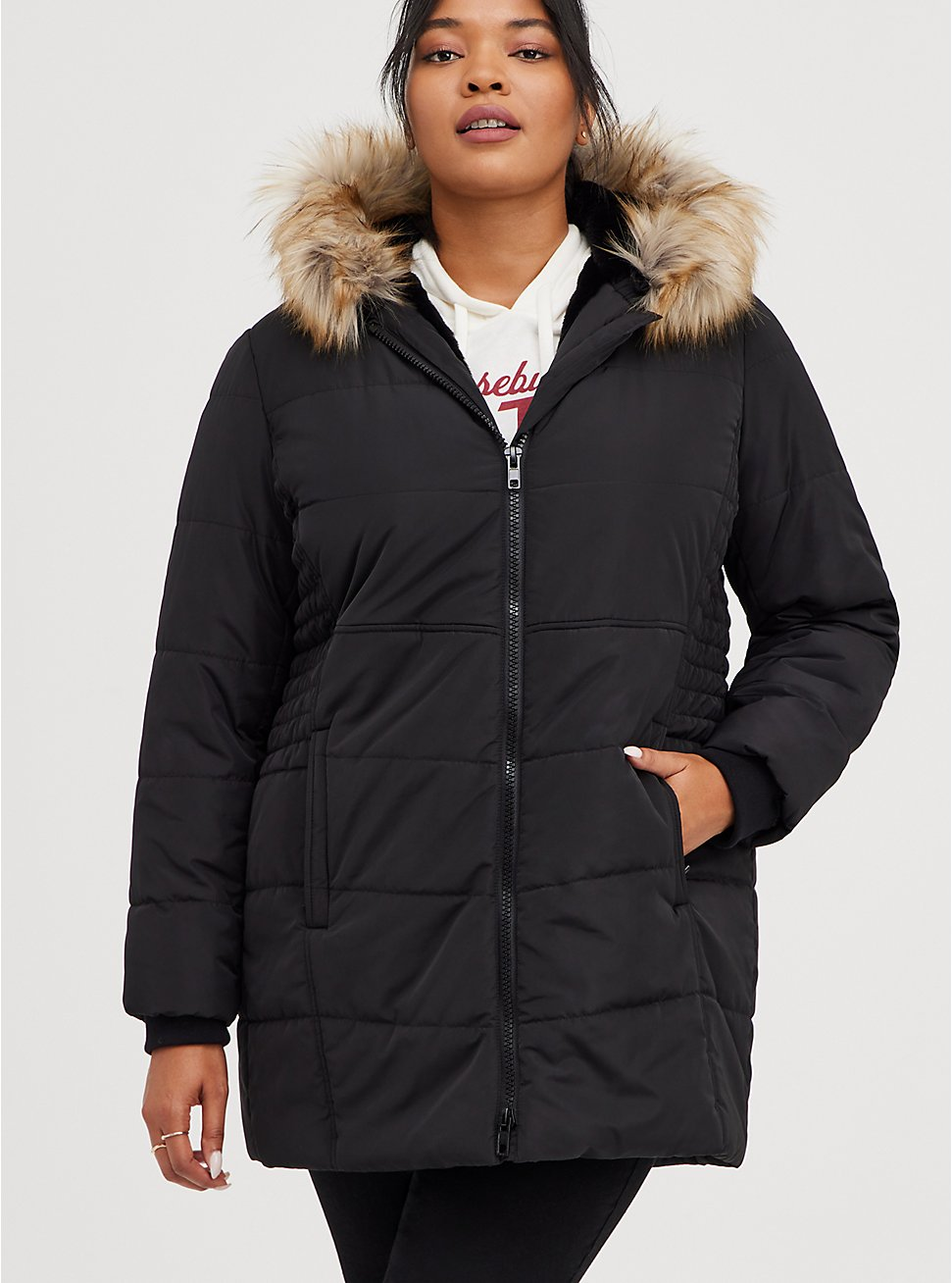 Black Faux Fur Trim Fit & Flare Puffer Coat, DEEP BLACK, hi-res