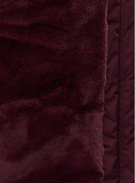 Dark Wine Faux Fur Trim Fit & Flare Puffer Coat, , alternate