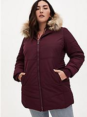 Dark Wine Faux Fur Trim Fit & Flare Puffer Coat, , alternate
