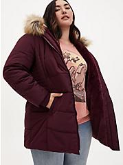 Dark Wine Faux Fur Trim Fit & Flare Puffer Coat, , hi-res