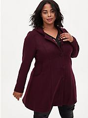 Dark Wine Woolen Hooded Fit & Flare Coat, , alternate