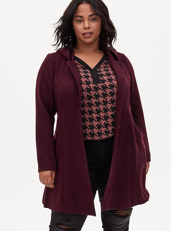 Dark Wine Woolen Hooded Fit & Flare Coat, , hi-res