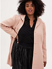 Light Pink Woolen Fit & Flare Coat, PALE BLUSH, alternate