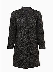 Grey Leopard Woolen Coat , LEOPARD, hi-res