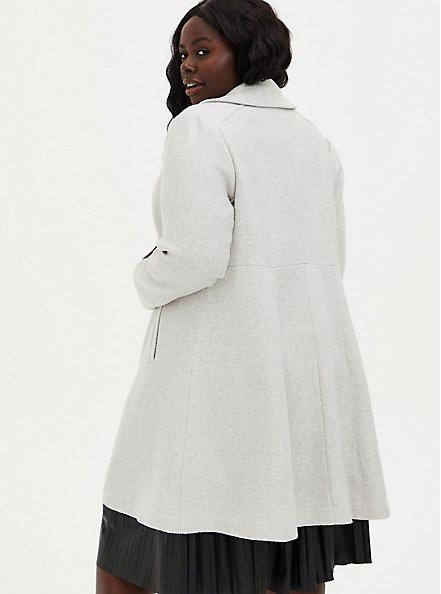 Light Grey Long Sleeve Wool Blend Shawl Collar Coat, OATMEAL, alternate