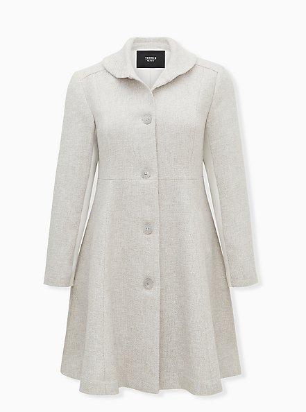 Light Grey Long Sleeve Wool Blend Shawl Collar Coat, OATMEAL, hi-res
