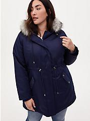 Navy Faux Fur Trim Hooded Parka, PEACOAT, alternate