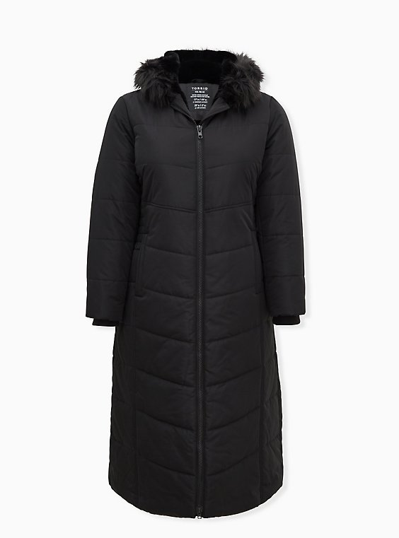 Black Faux Fur Trim Hooded Longline Puffer Coat, , flat