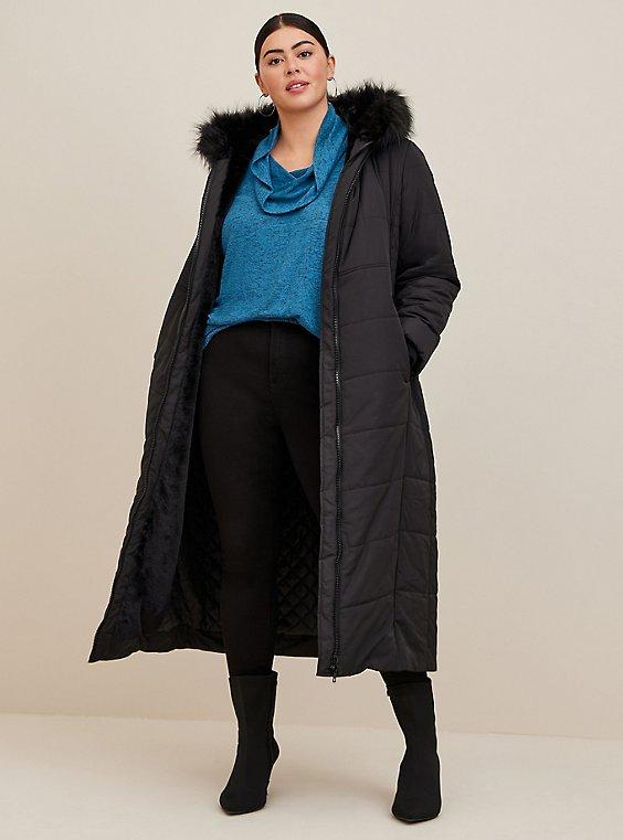 Black Faux Fur Trim Hooded Longline Puffer Coat, , hi-res