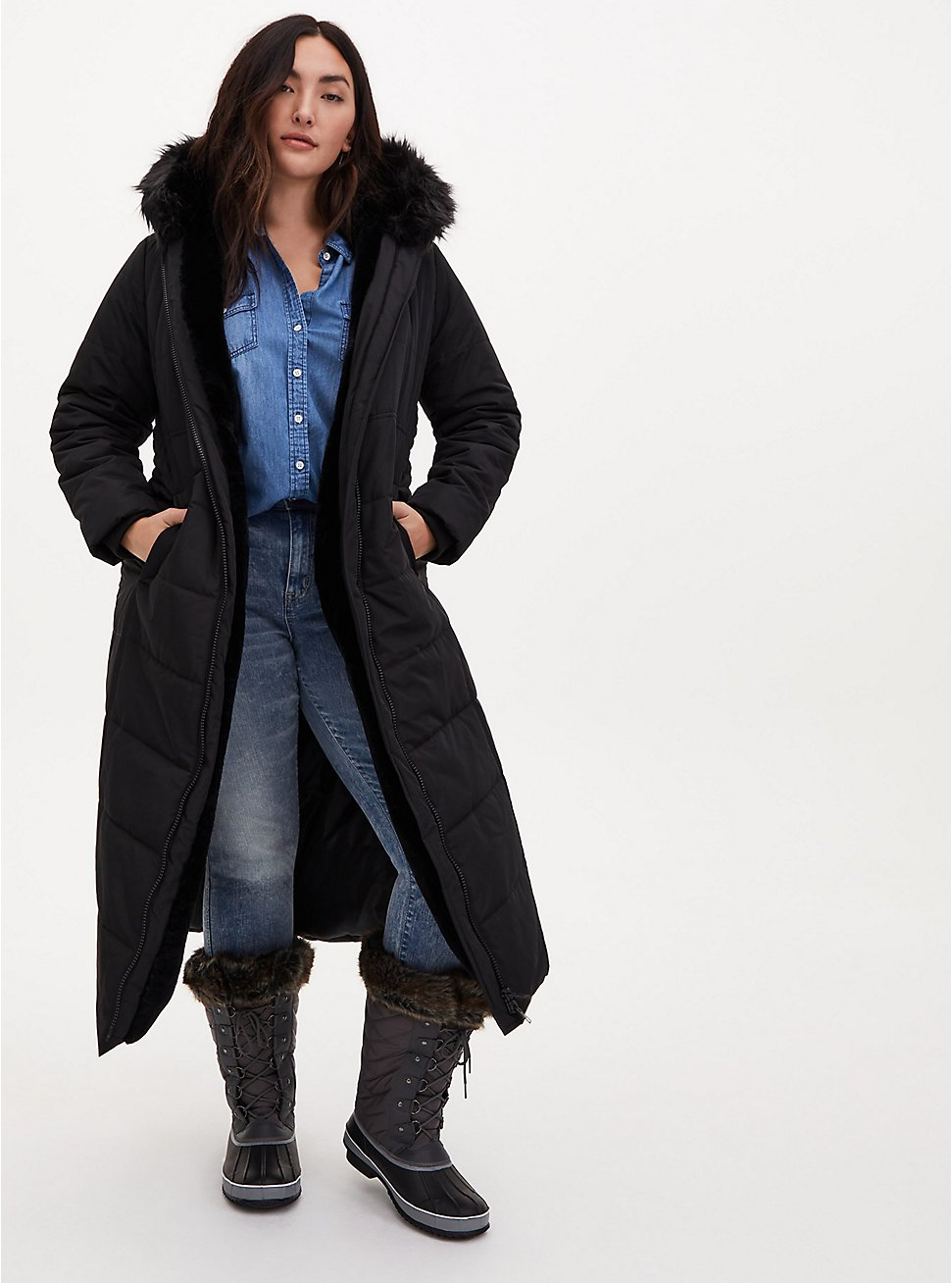 Black Faux Fur Trim Hooded Longline Puffer Coat, , hi-res