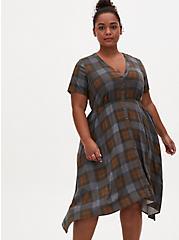 Outlander Tartan Challis Handkerchief Shirt Dress, PLAID, alternate