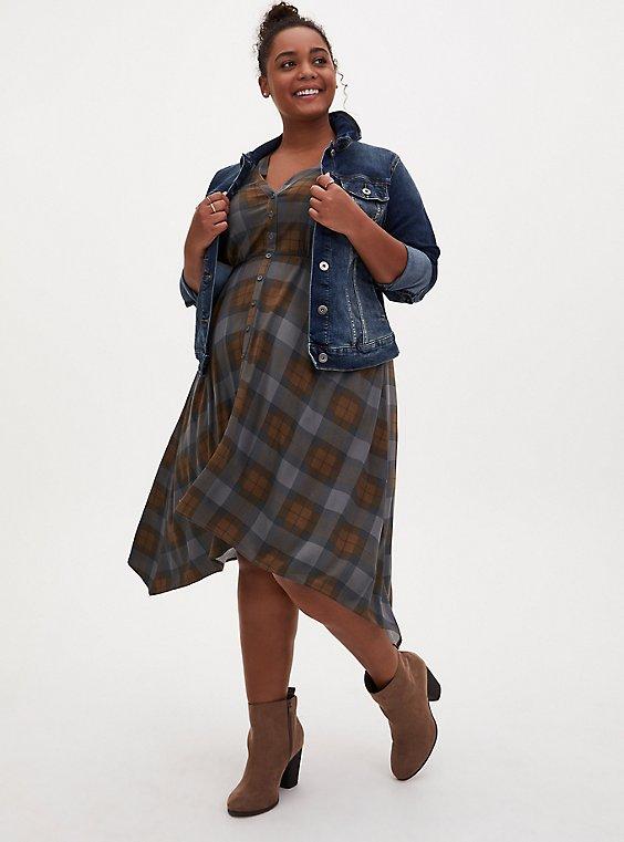 Outlander Tartan Challis Handkerchief Shirt Dress, , hi-res