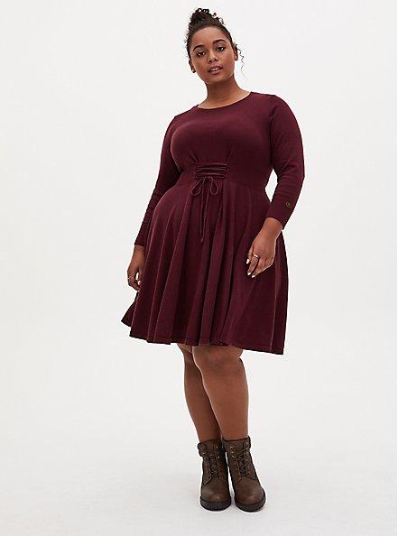 Outlander Lace Front Sweater Dress, BURGUNDY, alternate