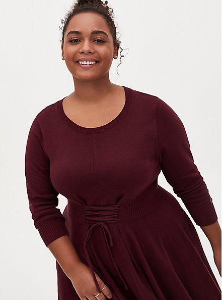 Outlander Lace Front Sweater Dress, BURGUNDY, hi-res