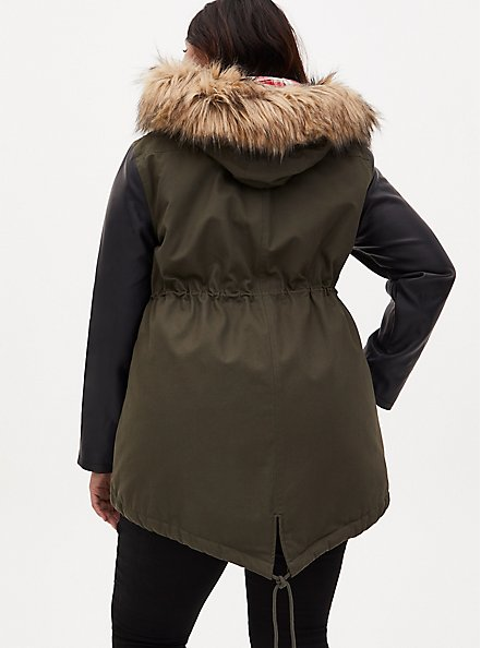 Olive Green Twill & Faux Leather Hooded Parka, DEEP DEPTHS, alternate