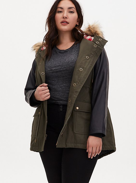 Plus Size Olive Green Twill & Faux Leather Hooded Parka, DEEP DEPTHS, hi-res