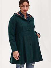 Dark Green Woolen Twill Fit & Flare Hooded Coat, GREEN GABLES, alternate