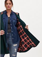 Dark Green Woolen Twill Fit & Flare Hooded Coat, GREEN GABLES, hi-res