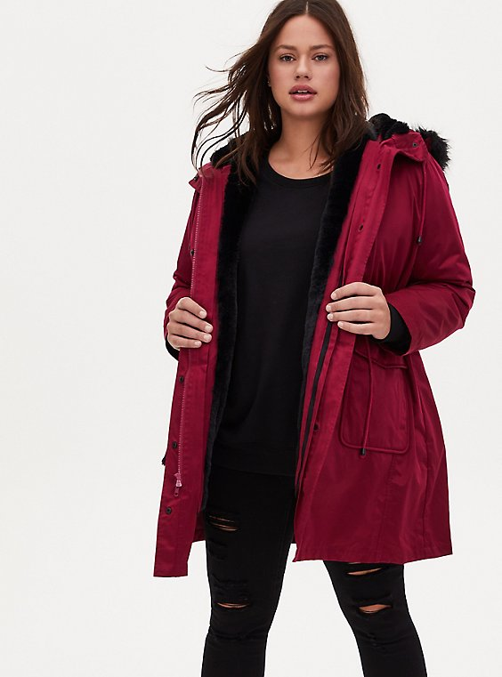 Red Wine Twill 3-in-1 Parka, , hi-res
