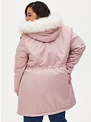 Mauve Pink Faux Fur Trim Hooded Parka, PALE MAUVE, alternate
