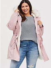 Mauve Pink Faux Fur Trim Hooded Parka, PALE MAUVE, hi-res