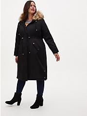 Plus Size Black Nylon Hooded Longline Parka, DEEP BLACK, alternate