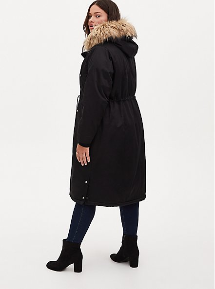 Black Nylon Hooded Longline Parka, DEEP BLACK, alternate