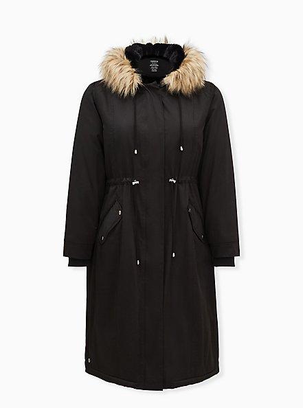 Black Nylon Hooded Longline Parka, DEEP BLACK, hi-res