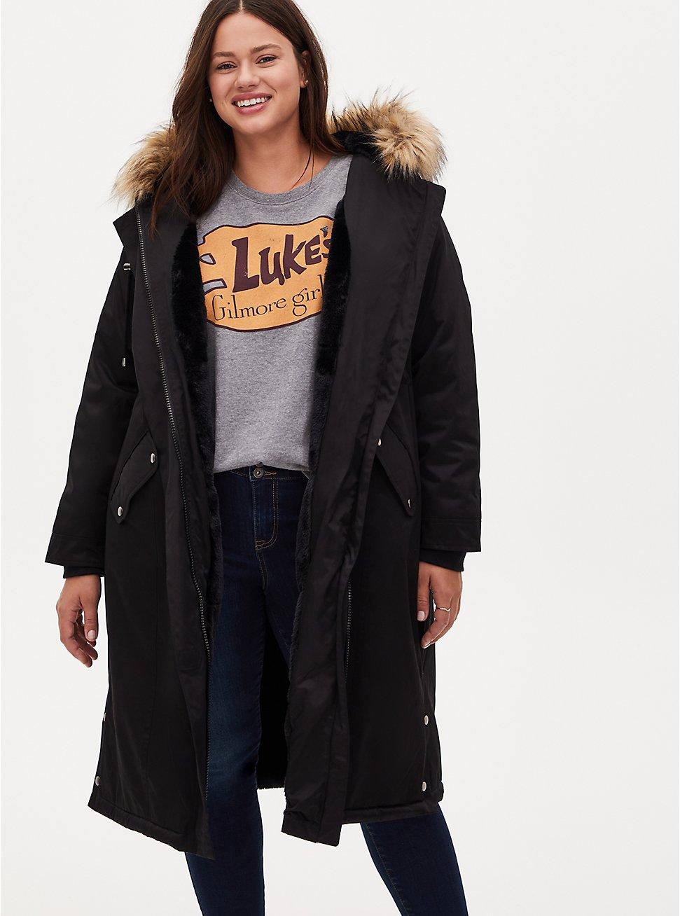 Plus Size Black Nylon Hooded Longline Parka, DEEP BLACK, hi-res