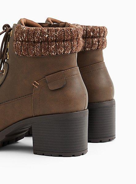 Cognac Faux Leather Sweater-Trimmed Hiker Boot (WW), COGNAC, alternate