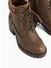 Plus Size Cognac Faux Leather Sweater-Trimmed Hiker Boot (WW), COGNAC, alternate