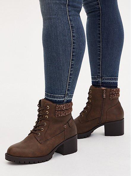 Cognac Faux Leather Sweater-Trimmed Hiker Boot (WW), COGNAC, hi-res