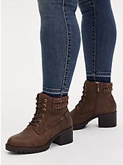 Plus Size Cognac Faux Leather Sweater-Trimmed Hiker Boot (WW), COGNAC, hi-res