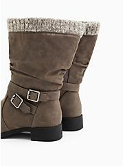 Grey Faux Leather Sweater-Trimmed Slouchy Moto Boot (WW), GREY, alternate