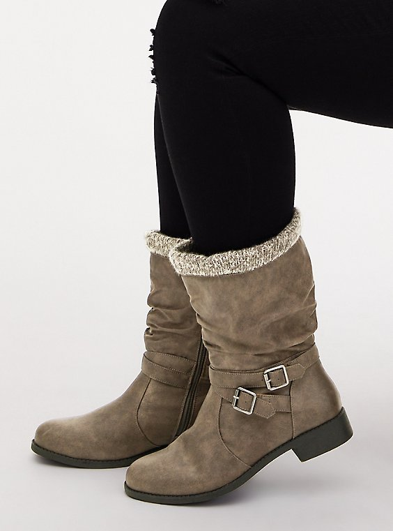 Grey Faux Leather Sweater-Trimmed Slouchy Moto Boot (WW), , hi-res