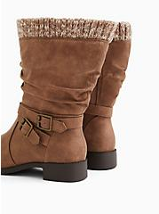 Cognac Faux Leather Sweater-Trimmed Slouchy Moto Boot (WW), BROWN, alternate