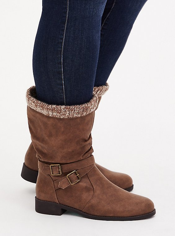 Cognac Faux Leather Sweater-Trimmed Slouchy Moto Boot (WW), BROWN, hi-res