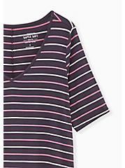 Breast Cancer Awareness - Favorite V-Neck Tunic Tee Super Soft Multi Stripe, HEATHER GREY, alternate