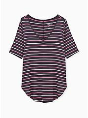 Breast Cancer Awareness - Favorite V-Neck Tunic Tee Super Soft Multi Stripe, HEATHER GREY, hi-res