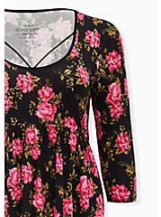 Breast Cancer Awareness - Super Soft Black Floral Strappy Babydoll Tee, , alternate